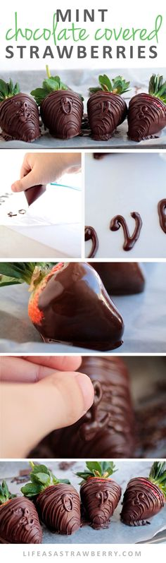 Minty Chocolate Strawberries with Chocolate Lettering | Homemade Chocolate Covered Strawberries are easier to make than you might think! In this dessert recipe, classic chocolate strawberries get a twist by adding mint chocolate and easy DIY chocolate let Vegan Dessert Recipes, Vegetarian Recipes Easy, Brownie Recipes, Fruit Recipes, Easy Desserts, Homemade Chocolate, Mint Chocolate, Chocolate Desserts, Chocolate Covered