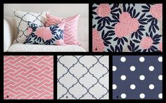 I like this idea of Pink & Navy with a mix of designs.     YOU DESIGN Custom 2 piece Crib Bedding Set - Bumper and Skirt -  Navy, Pink, and Beige on Light Aqua