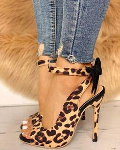 af0f6d56d066 Leopard Bow Detail Thin Heeled Sandals Women's Shoes Sandals, Heeled  Sandals, Hot Shoes,