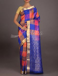 Vanaja Bold Checks Ornate Pallu #CoimbatoreSilkSaree