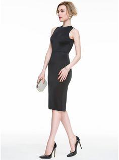 Sheath/Column Scoop Neck Knee-Length Jersey Cocktail Dress With Split Front (016083898)