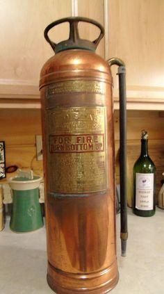 Antique Vintage RED STAR Model 303 Polished Copper/Brass Fire Extinguisher-Empty