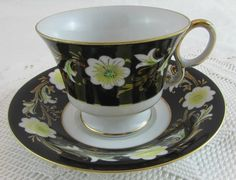 Shafford Black Tea Cup and Saucer with Flowers Hand Painted, Vintage Bone China
