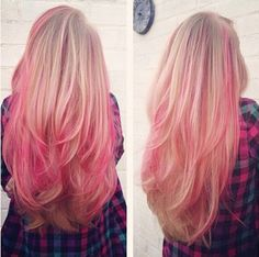 Candy pink ombre hair color with highlight for blonde hair girls~ so cute and ni. - Best Hairstyle and Hair Color ideas Blonde Hair With Pink Highlights, Pink Blonde Hair, Pink Ombre Hair, Blonde With Pink, Hair Color Pink, Hair Color Highlights, Hair Color Balayage, Blonde Color, Color Red