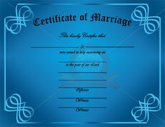 Blank marriage certificates download blank marriage certificates personalize this certificate of marriage for anyone who is married or getting married marriage certificate template yadclub Image collections