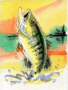 Analogous Fish Watercolor 11x14 Art print: Largemouth Bass via Etsy