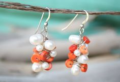 TOUCH of  DELICACY Cluster Earrings  White Pearl by YLOjewelry