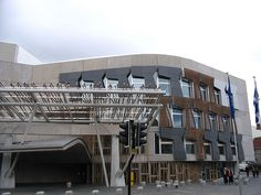 Scottish Parliament. I thought this was a very ugly building on the outside.  But it was pretty nice on the inside.  And they had a really interesting photography exhibit.