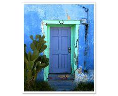 Tucson Blue Door Photograph - MATTED 8x10 photo print - southwest Arizona vibrant rustic bright purple blue. $35.00, via Etsy.