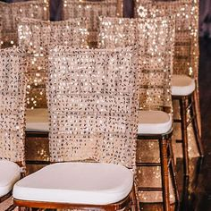 These #golden #Chaircovers are #gorgeous! Love the sparkle.