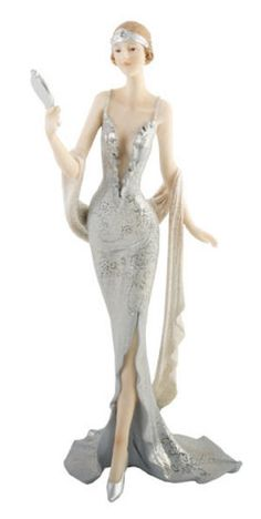 Art Deco Ladies | ... Ladies > Art Deco Blenheim Ladies Figurine Statue - Silver Lady #30