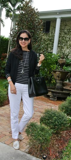 Chic nautical ensemble put together by Susana Fernandez at A Key to the Armoire