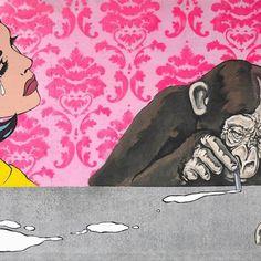 Pop Up. (Snorting sadness)  140x90 cm, olio su cemento.  #snorting #sadness #simonefugazzotto #monkey #roylichtenstein #lichtenstein #popart #contemporaryart #concrete #wallpaper #fakecoke #fugazzottocapra
