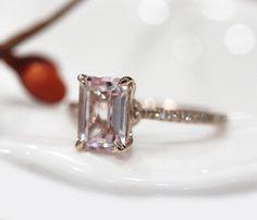 14k Rose Gold 68mm VS Emerald Cut Morganite Ring by RobMdesign