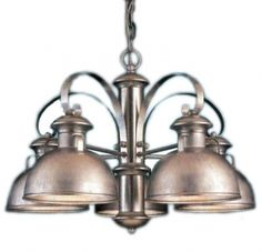 "Galvanized  Barn Light Denyawood 5-Light Chandelier $369. VERY similar to what my fixtures would look like if spray painted ""Hammered Metal""!"