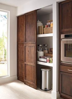 No longer a chilly back room, this humble space is now a hot kitchen-zone destination. Here's how to create one that works for you Here's how to select or build kitchen pantry shelving that works for you. Kitchen Pantry Design, Kitchen Pantry Cabinets, New Kitchen, Kitchen Decor, Kitchen Organization, Organization Ideas, Kitchen Ideas, Awesome Kitchen, Pantry Ideas