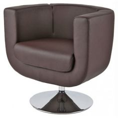 Modern Brown Leather Swivel Lounge Chair Bliss