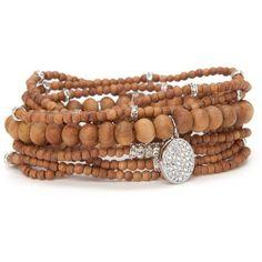 Lisa Freede Sandalwood Malas Bracelet With Swarovski Crystals ❤ liked on Polyvore