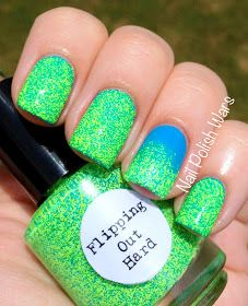 Nail Polish Wars: Flipping Out Hard!  coat of Nail Pattern Boldness: ☆  Flipping Out Hard ☆ ...  a mixture of neon yellow, green, and blue matte micro glitters in a light neon yellow base.