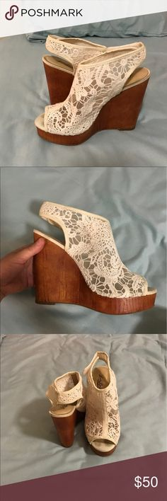 Lucky Brand Wedges White lace shoes with wooden wedge! TO DIE FOR! Super comfortable. Worn maybe twice. Make me an offer!!! Lucky Brand Shoes Wedges