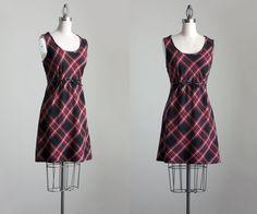 Plaid Jumper Dress 1990s Vintage Red Plaid Mini Dress by decades, $36.00