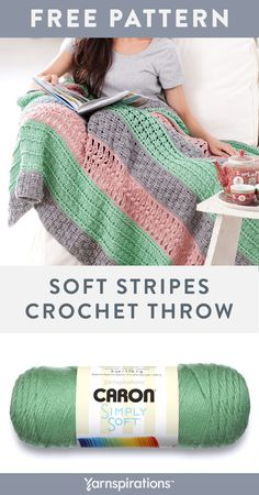 Check-out the super dimensional look in this rich throw, made in Caron Simply Soft. Crochet Throw Pattern, Crochet Granny Square Afghan, Knitted Afghans, Crochet Yarn, Crochet Stitches, Free Crochet, Crochet Throws, Ripple Afghan, Baby Afghans