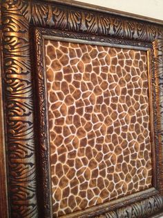 Giraffe Print/ Antiqued Gold and Black Upcycled Frame Magnetic MakeUP Board Organizer by Julez on Etsy, $37.00