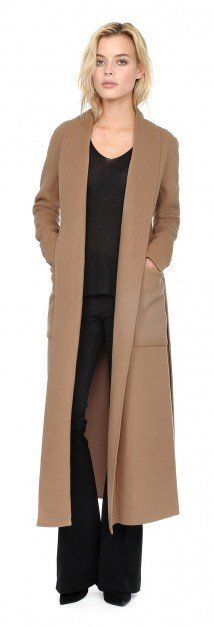 DAPHNE Double face wool coat with shawl collar in Honey