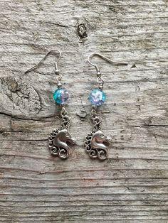 Earrings - Unicorn - Crackled Bead - Horse - Fantasy - New Age - Hippie - Boho - Folk by Nattspinnas on Etsy