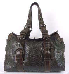 c7040f597a19 COACH Chelsea Leather Printed Python Satchel Carryall #11008 Chocolate  Brown #Coach #Satchel