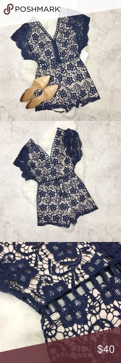 Navy Blue Crochet Cutout Romper Brand new with tags! V shape cutout in front and back. Lined. Size small. Listed as free people for exposure. Free People Dresses