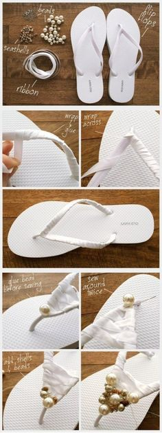 DIY Beads Embellished Flip Flops - 20 Best DIY Fashion Ideas Ever Its also a great to turn cheap plain flip lops into something cool :)