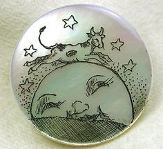 Hand Etched Iridescent Shell Button w/ Cow Jumps over Moon Nursery Rhyme Design