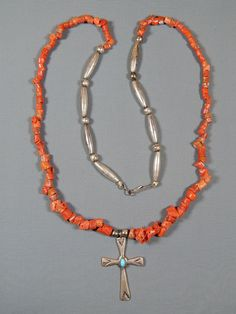 Vintage Southwestern Branch Coral Necklace with Silver & Turquoise Cross Pendant