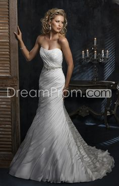 Chic Trumpet/Mermaid Strapless Floor-length Chapel Ruched Wedding Dresses