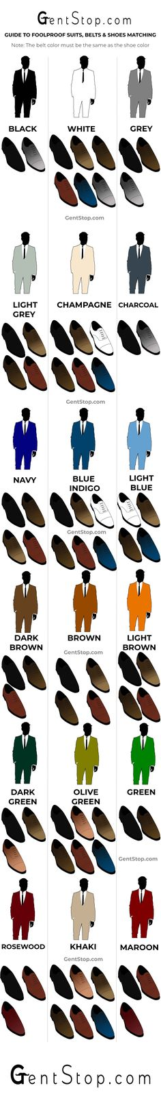 A gift to our followers. The ultimate foolproof shoe, belt and suits color matching guide.  Pin, Like, Follow if you like it.