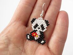 Panda Bear Earrings Seed Bead Animal Earrings Dangle Earrings Panda Gifts Unique Gift Funny earrings Panda Jewelry Beaded jewelry Beadwoven - - Informations About Panda Bear Earrings Seed Bead Animal Earrings Dangle Beaded Earrings Patterns, Seed Bead Patterns, Beading Patterns, Beading Ideas, Seed Bead Jewelry, Seed Bead Earrings, Dangle Earrings, Diamond Earrings, Jewelry Findings