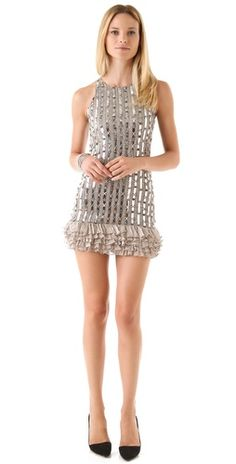 alice + olivia Alison Ruffle Beaded Tank Dress