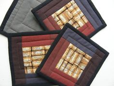 Quilted Fabric Coasters  WINE CORKS by MoonDanceTextiles on Etsy, $16.50