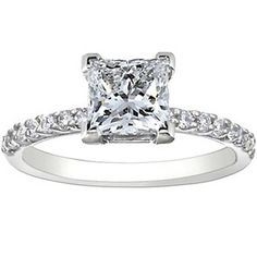 Petite Shared Prong Diamond Ring (1/4 ct.tw.), set with beyond conflict free princess diamond.