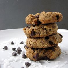 Coconut Butter Cookies with mini chocolate chips...  sub stevia