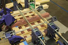 Basket Weave Cutting Board Glue Up and Clamps