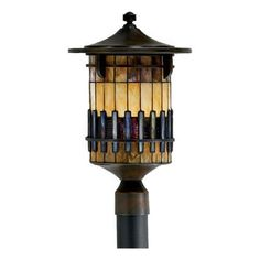 Quoizel Autumn Ridge Outdoor Post Lantern - 19.5H in. Bergamo by Quoizel. $449.99. The Quoizel Autumn Ridge Outdoor Post Lantern is a unique addition to any front yard or garden. This elegant fixture is designed for posts or mounts and features durable iron construction and an earth-tone Bergamo finish. The shade measures 8.5W x 11H inches and is made of 100 pieces of hand-inlaid Tiffany glass, interspersed with three-form eco-resin to form a three-dimensional ge...
