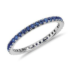 Sapphire Eternity Ring in 18k White Gold | Blue Nile Stuart's birth stone. What a cute idea to wear as another wedding band or anniversary present.