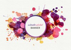 Watercolor Splashed Banner Vector Graphic — hand drawn, decoration, decorative, splattered, abstract, splatter, artistic, backdrop, spatter, magenta, imprint, drawing, poster, bright, orange, season, yellow, splash, liquid, modern, grunge, messy, frame, fluid, stain, print, image, brush, paint, spot, drip, blob, blot, ink, art