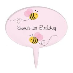 Get a Baby Girl cake topper from Zazzle. Shop for your cake topper now! Bumble Bee Cake, Bee Cakes, Baby Girl Cakes, Personalized Cake Toppers, Birthday, Pink, Birthdays, Hot Pink, Pink Hair