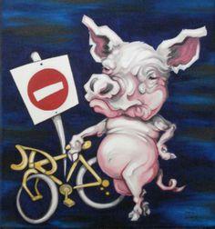 Road Hog, Ellen Marcus, Oil on canvas, Fine Art America.