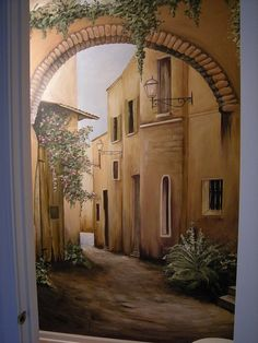 French Street Scene Mural Painted in Small Powder Room