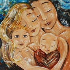 """Carry You Around - mom dad 2 kids heart print by Katie m. Berggren. Katie, someday I will unearth the """"big family"""" picture you drew me when we were in middle school. My own family is almost looking like that nowadays... except we haven't yet adopted any little people of other races!"""