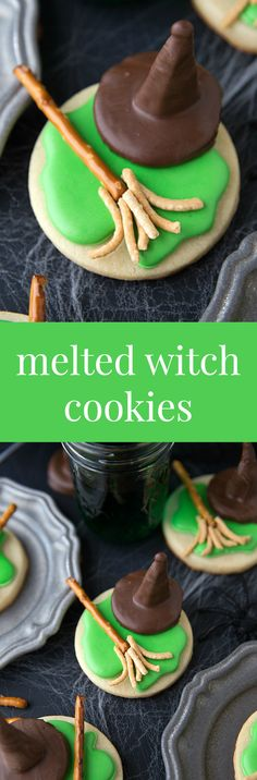Cute Halloween Treat -- Melted Witch Cookies Fun for a Wizard of Oz movie night Cute Halloween Treats, Dessert Halloween, Halloween Baking, Theme Halloween, Halloween Goodies, Halloween Food For Party, Holiday Baking, Diy Halloween, Halloween Recipe